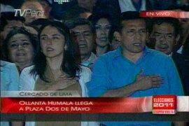 Ollanta Humala se dirigió a sus simpatizantes llamando a la paz en la plaza Dos de Mayo