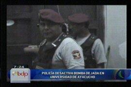 Policía logra desactivar bomba dejada en Universidad de Ayacucho