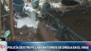 Policía logra destruir laboratorios de droga en el VRAE