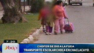 Chaclacayo: Unidad de transporte escolar choca contra automóvil particular