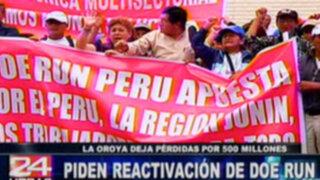 Trabajadores y pobladores de La Oroya piden reactivación de Doe Run