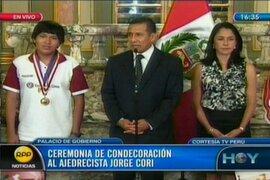 En premiación a Jorge Cori presidente Humala llama a la unión de los peruanos