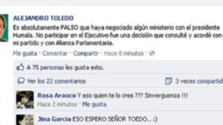 Alejandro Toledo: No he negociado ningún ministerio con Humala