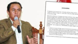 El acta que Gregorio Santos no quiso firmar en reunión de Cajamarca