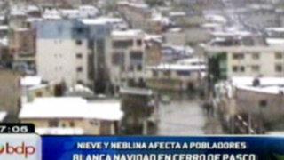 Cerro de Pasco: Pobladores reciben la Navidad con lluvia y nieve