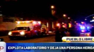 Pueblo Libre: Explosión en laboratorio deja una trabajadora grave