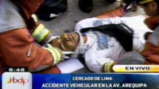 Cercado de Lima: Accidente vehicular deja un herido en la avenida Arequipa