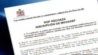 JNE declaró improcedente inscripción de MOVADEF como partido político
