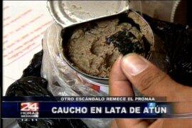 Pedazo de caucho es encontrado en lata de atún repartido por el Pronaa