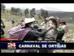 Huancayo: pobladores celebran carnavales con ortigas, talcos y agua