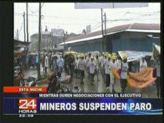 Mineros informales suspenden paro mientras duren negociaciones con el ejecutivo