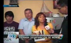 Padres de menor desaparecida piden a las autoridades no abandonar su búsqueda