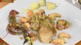 Cocina un práctico pollo con camarones