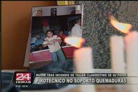 SMP: muere joven tras incendio de taller pirotécnico clandestino