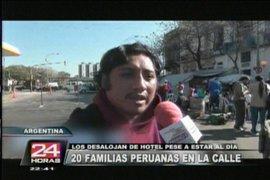 Más de 20 familias peruanas son echadas a la calle en Buenos Aires