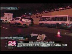 Bus embiste combi y deja un muerto y seis heridos en la Panamericana Sur