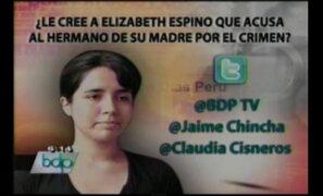 """Pregunta de hoy ¿Le cree a """"Elita"""" que acusa al hermano de su madre por el crimen?"""