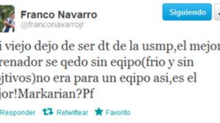 Franco Navarro habría dejado la Universidad San Martín