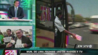 Transportistas paralizan contra ordenanza que prohíbe ruidos en las combis