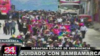Cajamarca: desafían estado de emergencia y protestan contra proyecto Conga