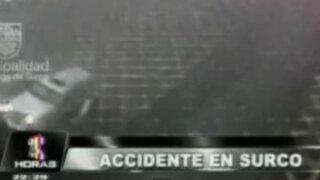 Surco: cámaras de seguridad registran aparatoso accidente vehicular