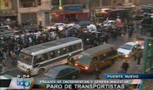 Pasajes se incrementan y genera malestar durante paro de transportistas