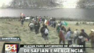 Pobladores de Bambamarca acatan paro antiminero de 48 horas