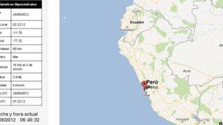 Leve sismo se sintió esta madrugada en el balneario de Ancón