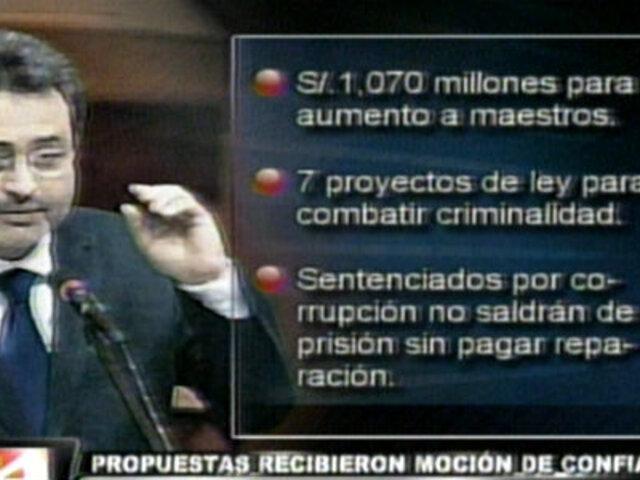 Propuestas del Gabinete Jiménez reciben moción de confianza