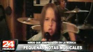 Niña de cinco años asombra al mundo liderando una banda de heavy metal