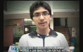 Escolar de 15 años ingresó a San Marcos con puntaje histórico