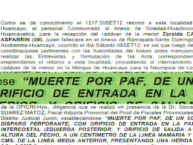 Exclusivo: resultados de necropsia a niña muerta en operación 'Mantaro'