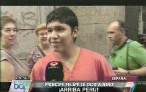 """Niño peruano logra que el príncipe Felipe diga """"Arriba Perú"""""""