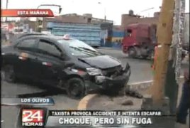 Taxista se pasó la luz roja y provocó aparatoso choque en Los Olivos