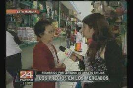 Recorrido por centros de abasto en Lima verificando los precios