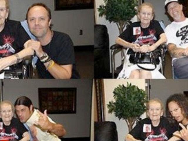 Mujer de 90 años cumplió su sueño de conocer a 'Metallica'