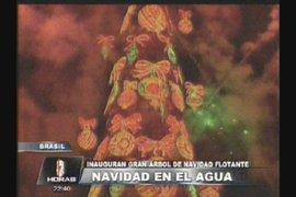 Brasil: Inauguran gran árbol de navidad flotante