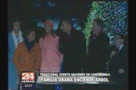 Familia Obama enciende árbol de Navidad en la Casa Blanca