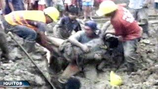Iquitos: compañeros salvan a obrero sepultado en una zanja