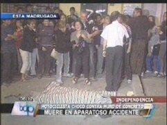 Motociclista murió al estrellarse contra un muro de concreto
