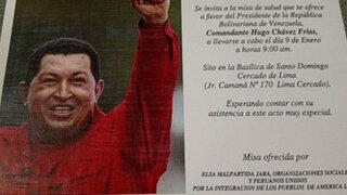 Elsa Malpartida organiza misa de salud en Lima por Hugo Chávez