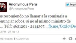 Anonymous Perú publica teléfonos privados de Ministro Pedraza