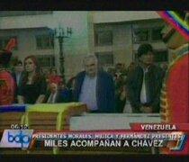 Presidentes Morales, Fernández y Mujica acompañaron féretro de Hugo Chávez
