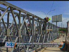 Puente Bailey en Av. Universitaria estará listo en seis días