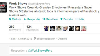 "Empresa ""Work Shows"" será la promotora del Tour ""Super Show 5"""