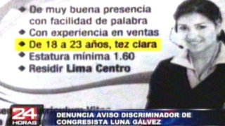 Congreso denunciará a parlamentario José Luna por aviso discriminatorio