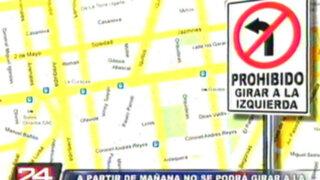 Norma prohibirá girar a la izquierda en gran sector de la Javier Prado