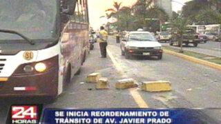 Reordenamiento vehicular en Javier Prado continuará hasta el óvalo Monitor