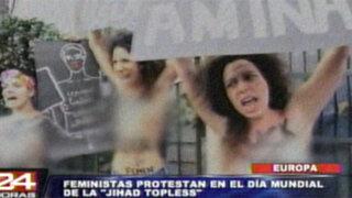 Europa: Feministas protestaron semidesnudas durante el día del Jihad