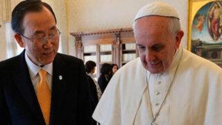 Papa Francisco y Ban Ki-Moon plantean soluciones a conflictos mundiales